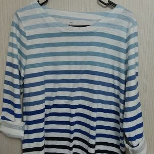 3/4 blue gradient striped top, Talbots